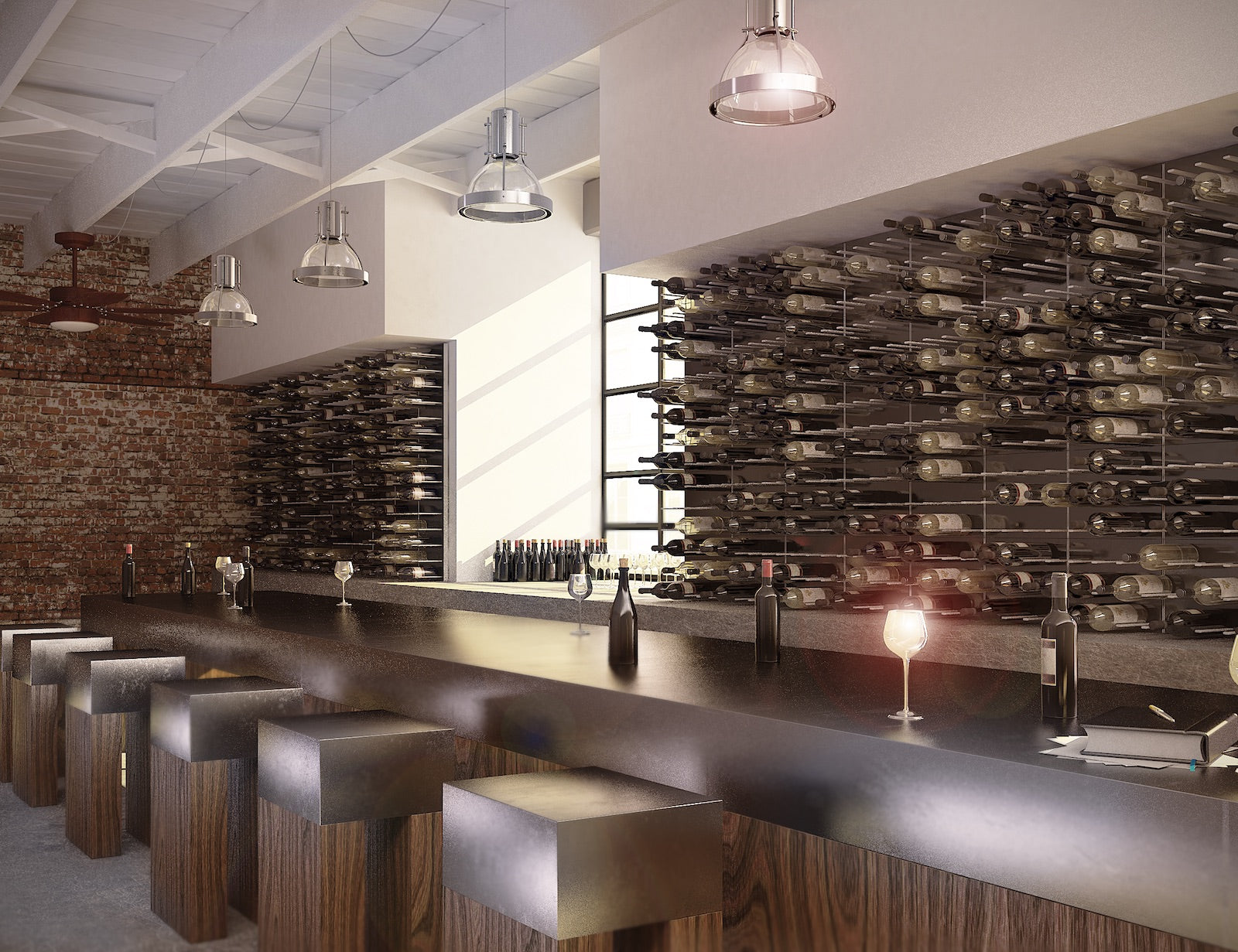 restaurant bar wine wall