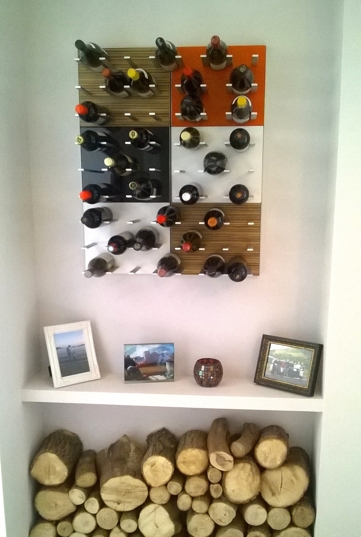 rustic eclectic modern wine display nook