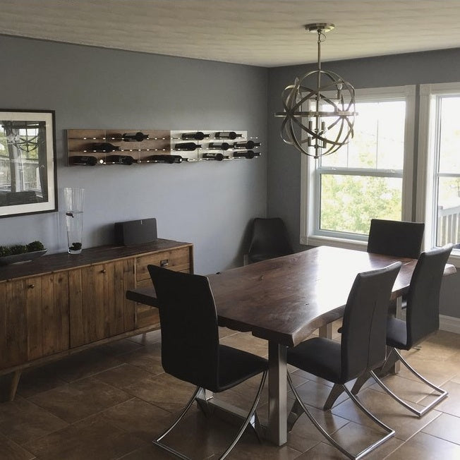 rustic modern dining room wine storage