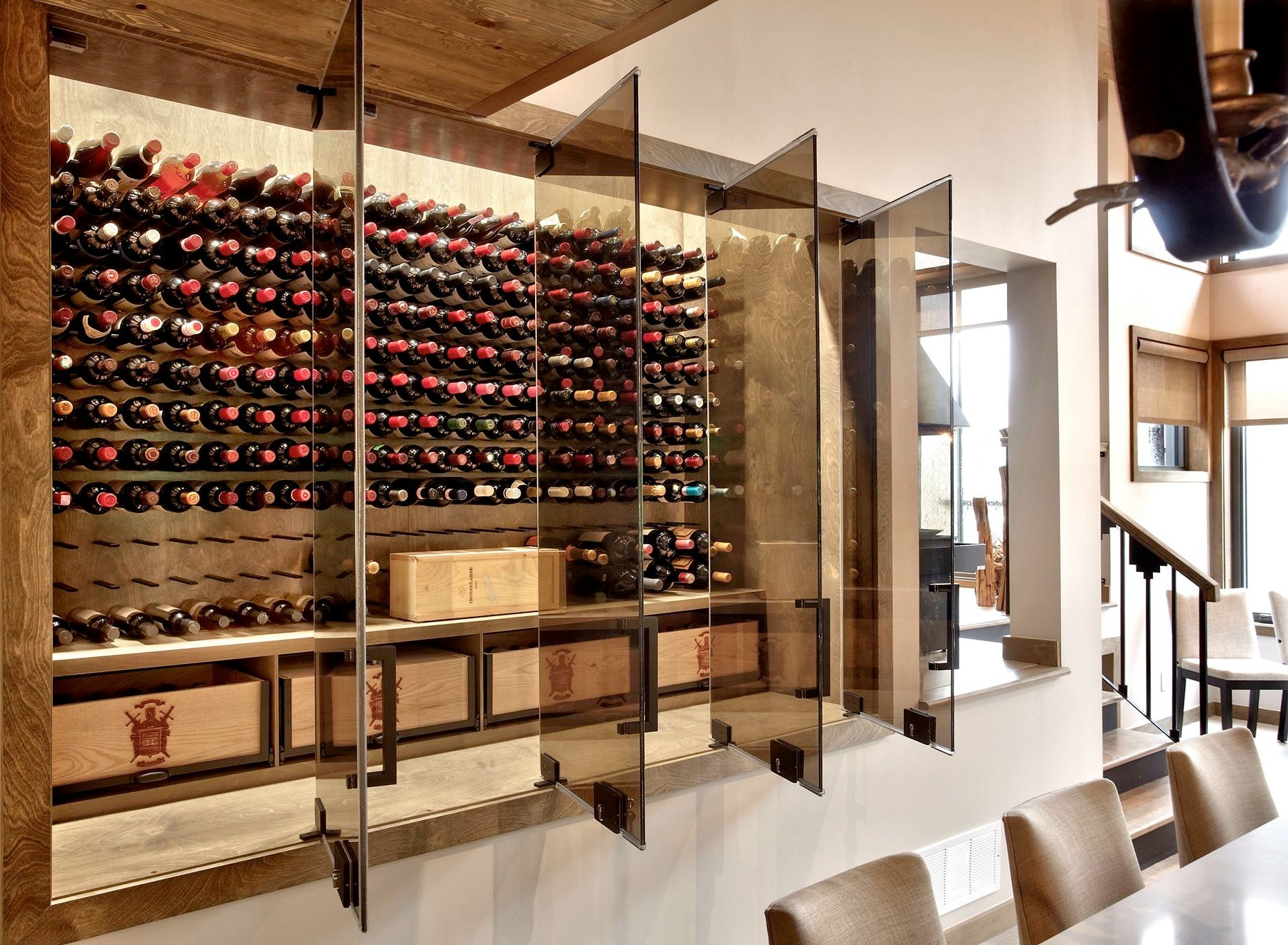 rustic modern wine cellar with glass doors
