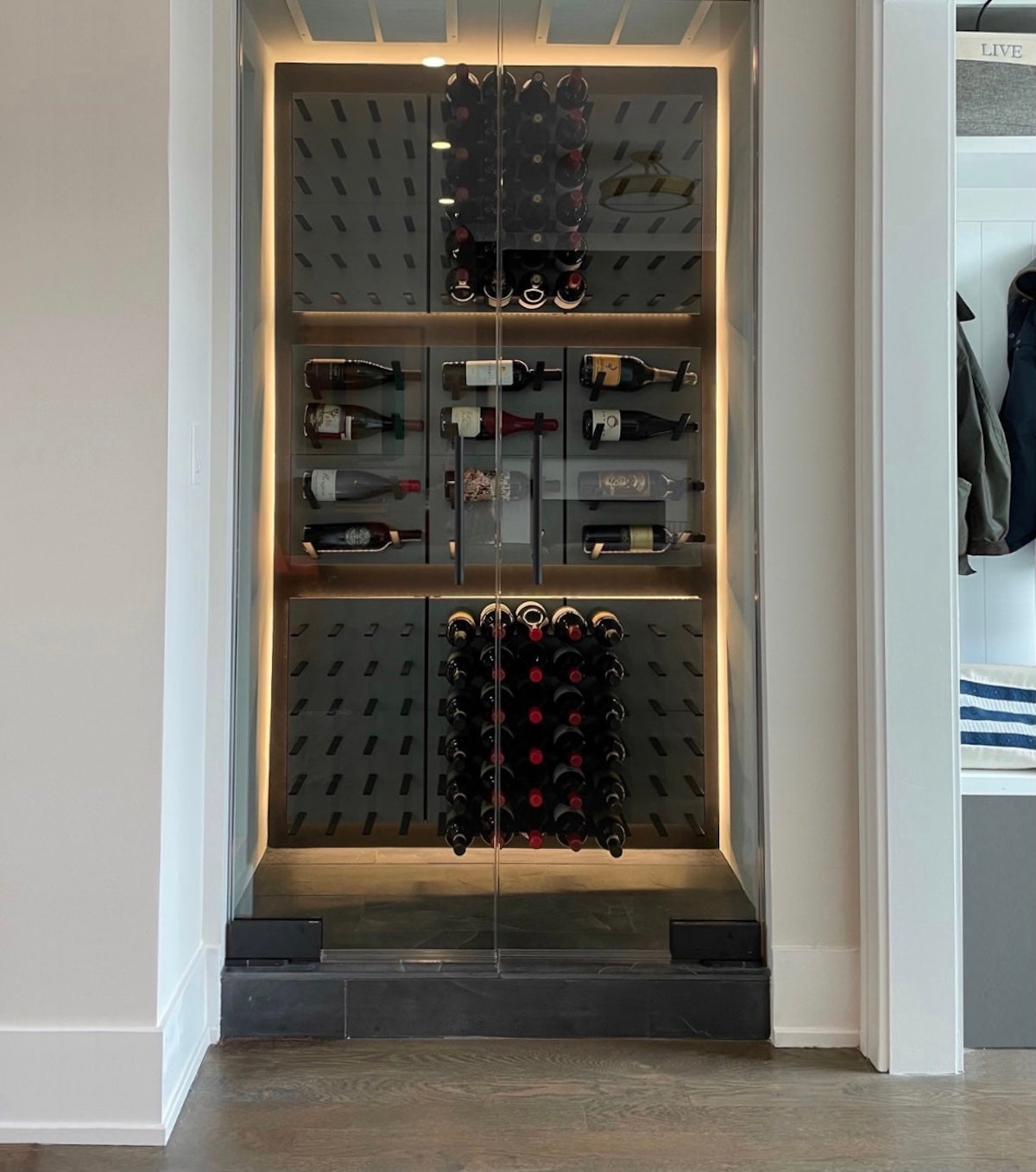 small wine cellar with glass doors