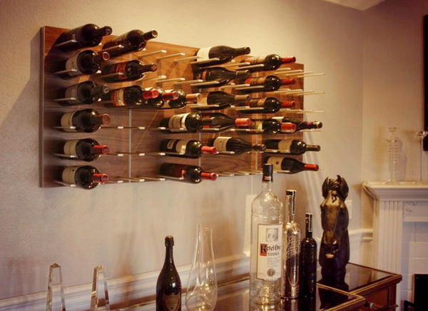 STACT wine racks above a bar in heritage style home