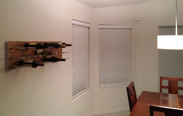 STACT wine racks in walnut wood finish