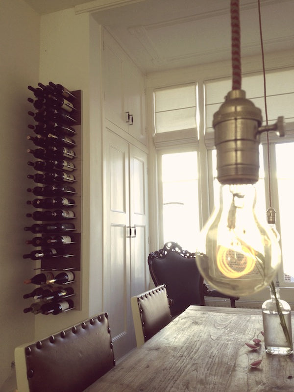 stact wine racks in white oak and walnut wood