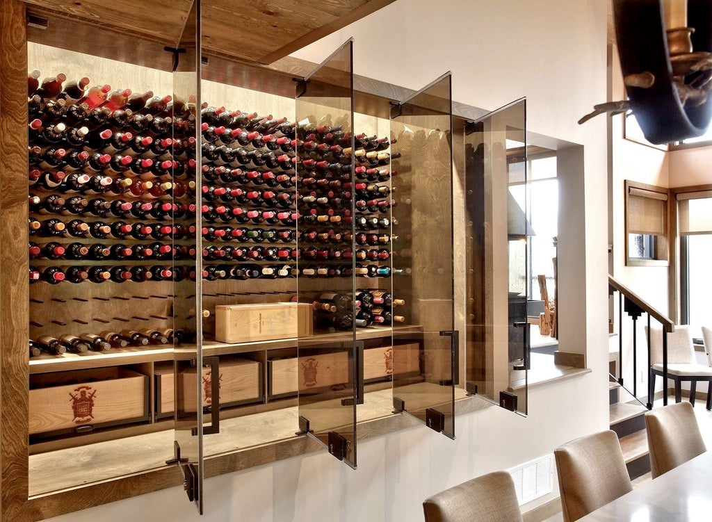 wood and glass wine cellar