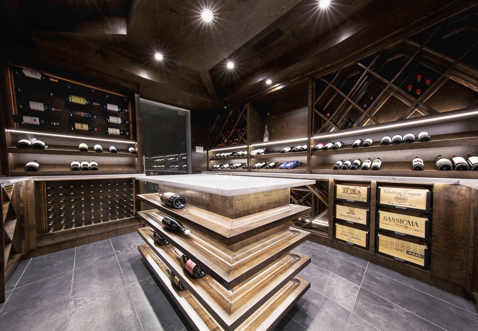 traditional modern pegged wine cellar