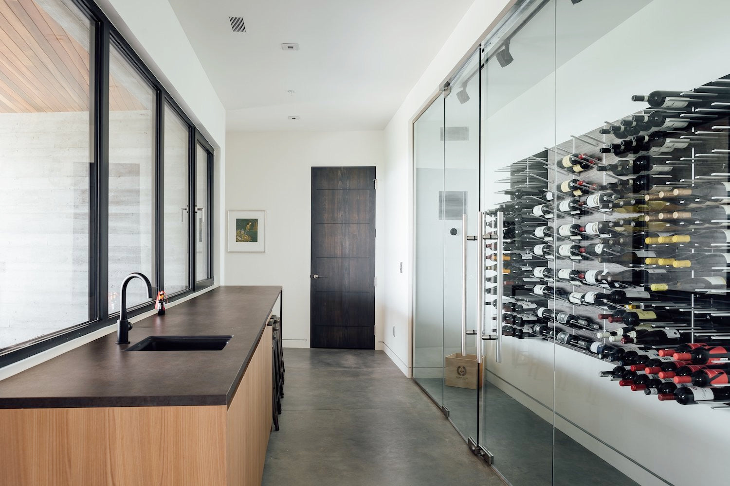 modern glass wine room design - park city utah