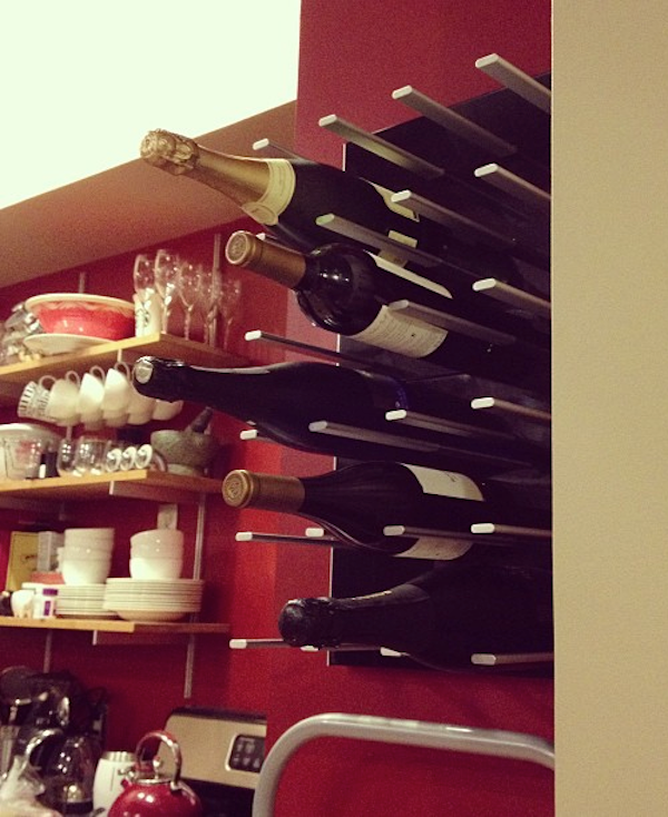 wall wine rack in new york - black lacquer
