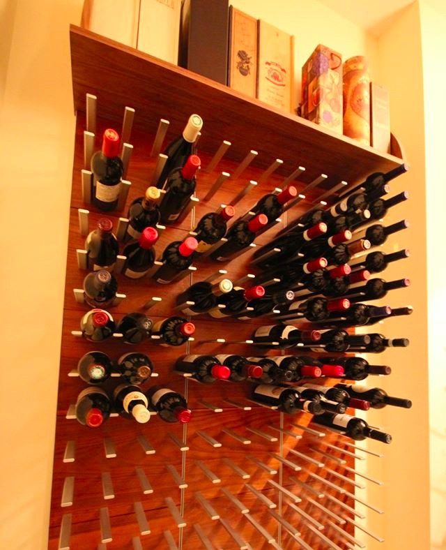 wine cellar display racking with custom wooden shelf
