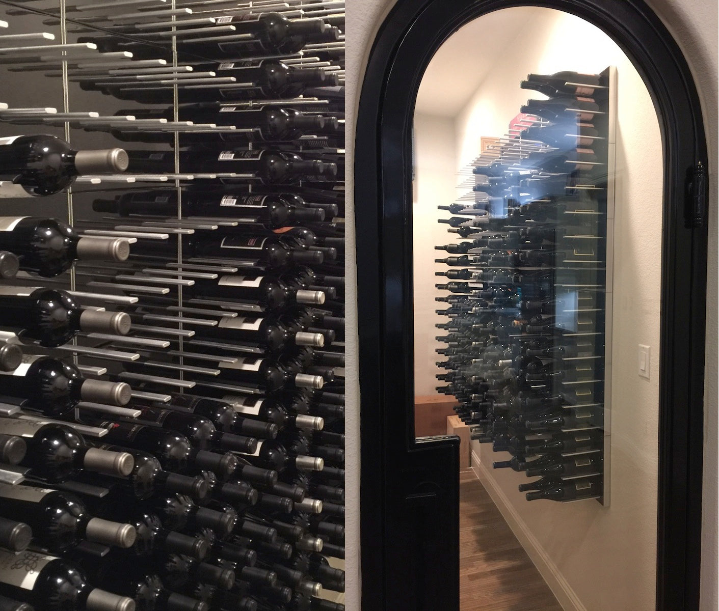 modern wine room with glass arched door