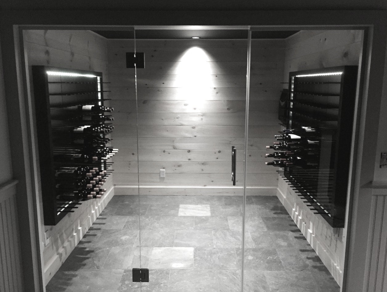 backlit wine racks in wine tasting room