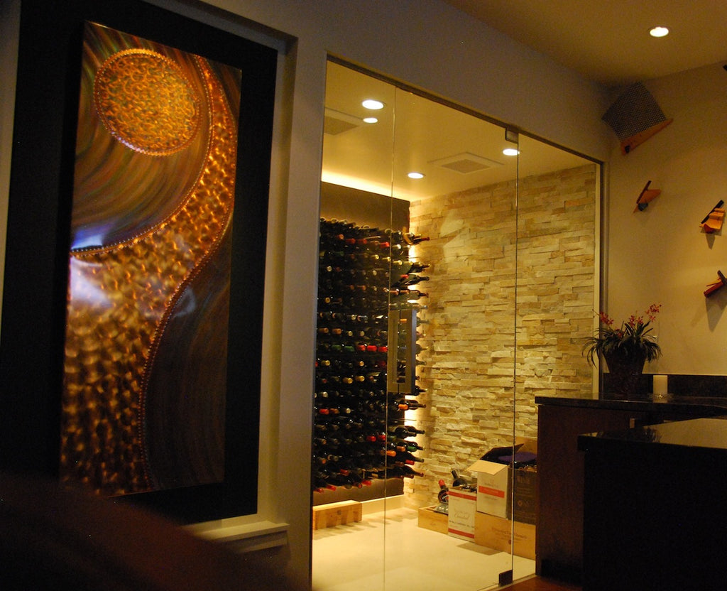 wine cellar with LED lighting, wall mounted wine racks and temperature control