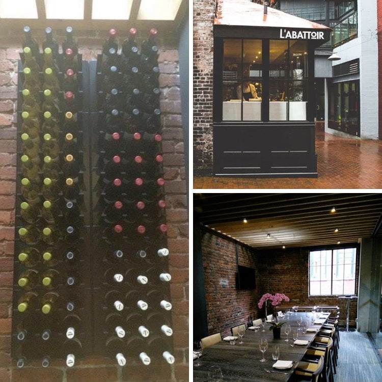l'abattoir private dining room wine rack wall