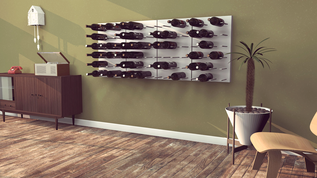 white laqueur and wood wine racks Australia