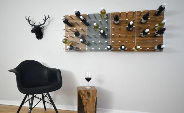 STACT wine racks in Zebrano and gunmetal grey