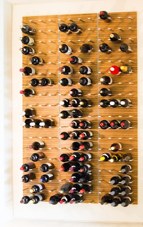 STACT wine racks in Zebrano wood finish