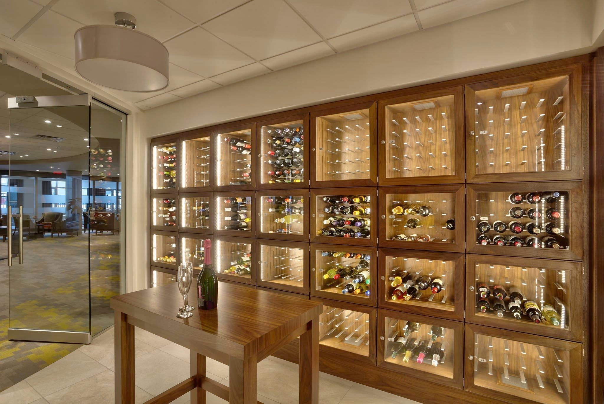 Wood Metal And Glass Wine Cellar Storage Lockers