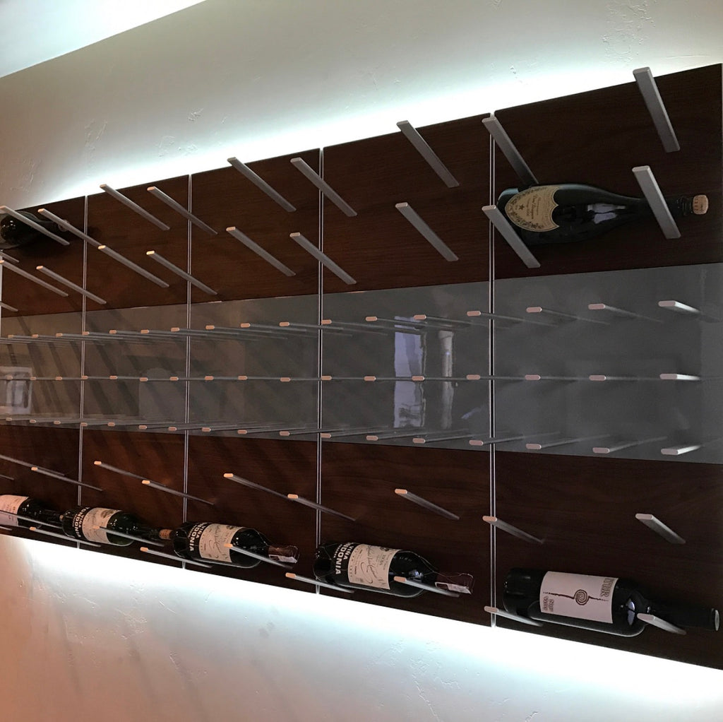 label forward wine bottle display