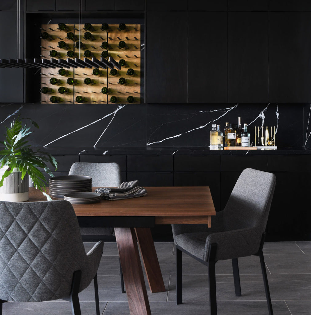 black marble and rustic wood home bar design