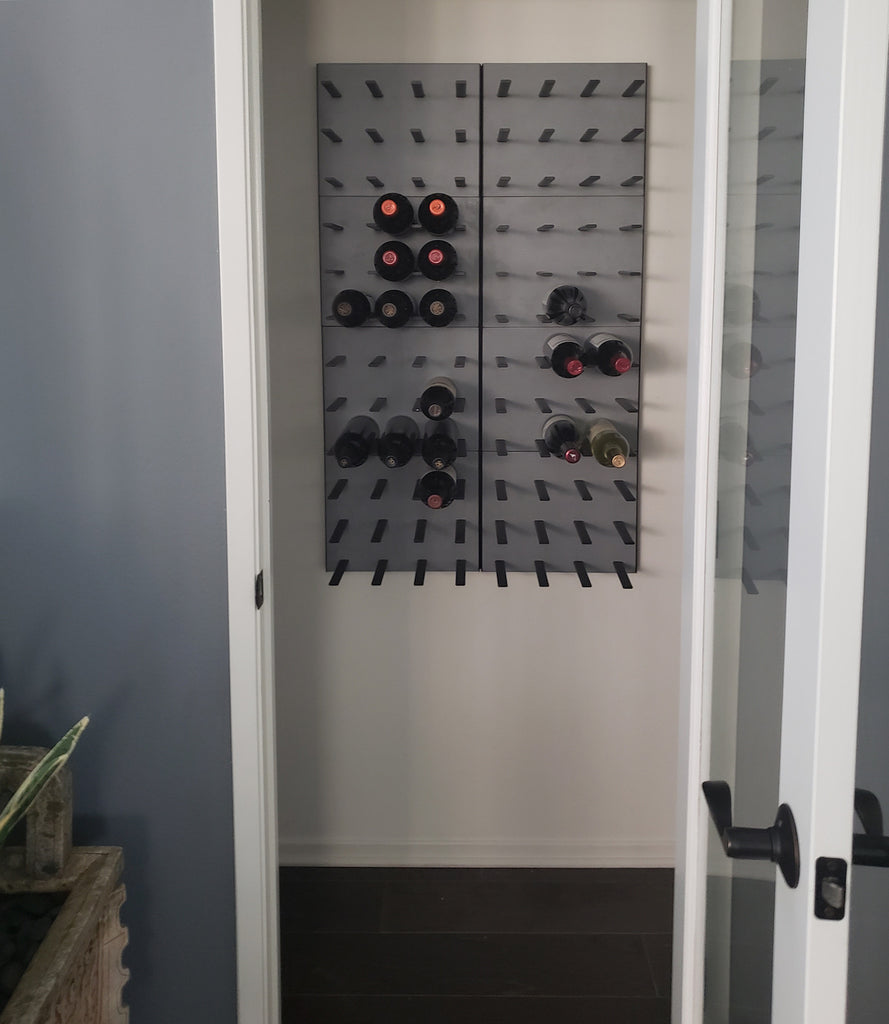 closet wine storage - concrete wine rack
