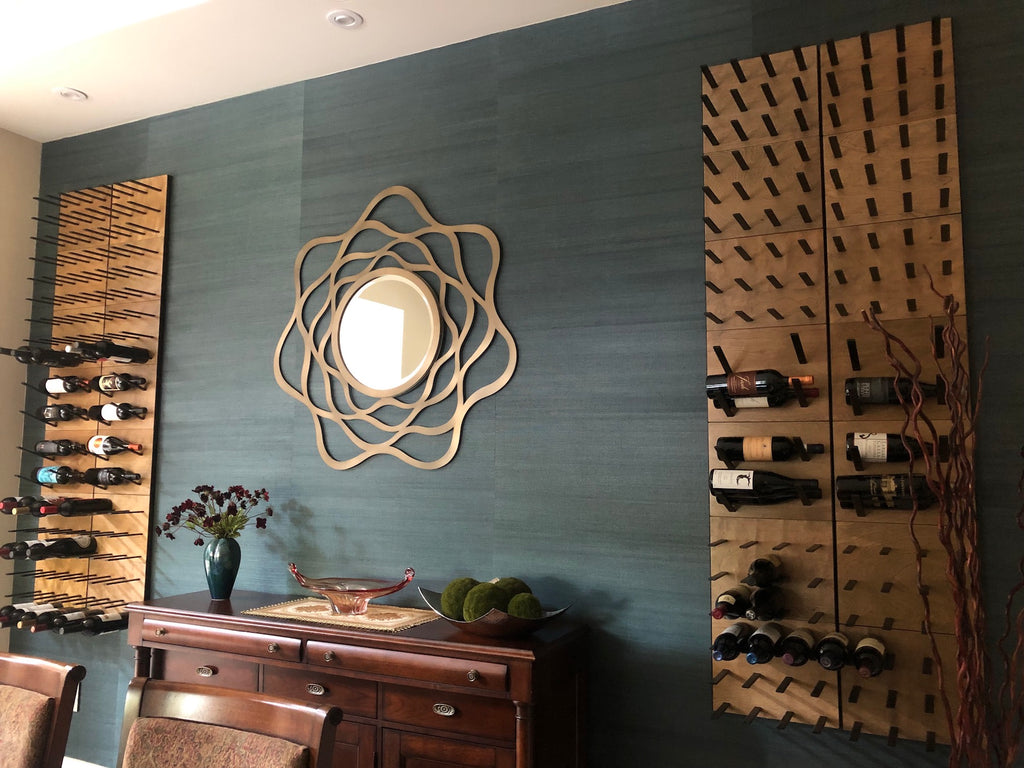 dining room wine wall display