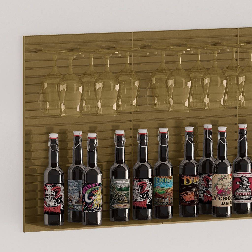 bar bottle and glassware shelf