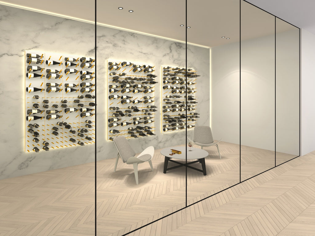 white panels & gold pegs luxury wine cellar