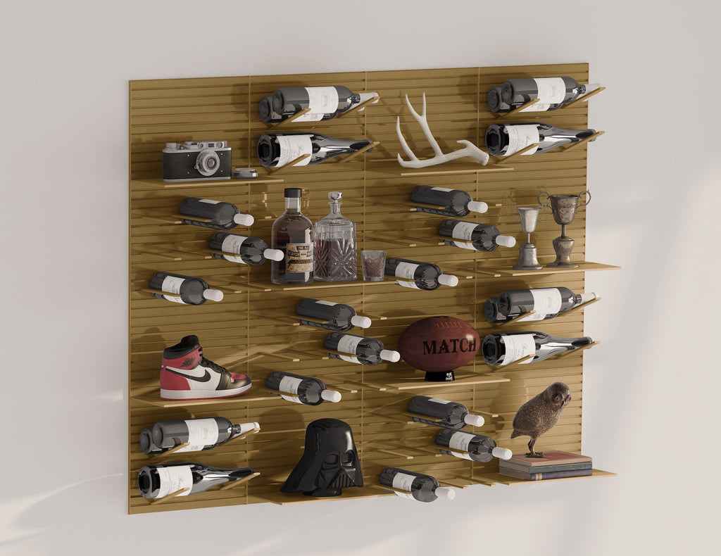 metal wall display shelves - brass