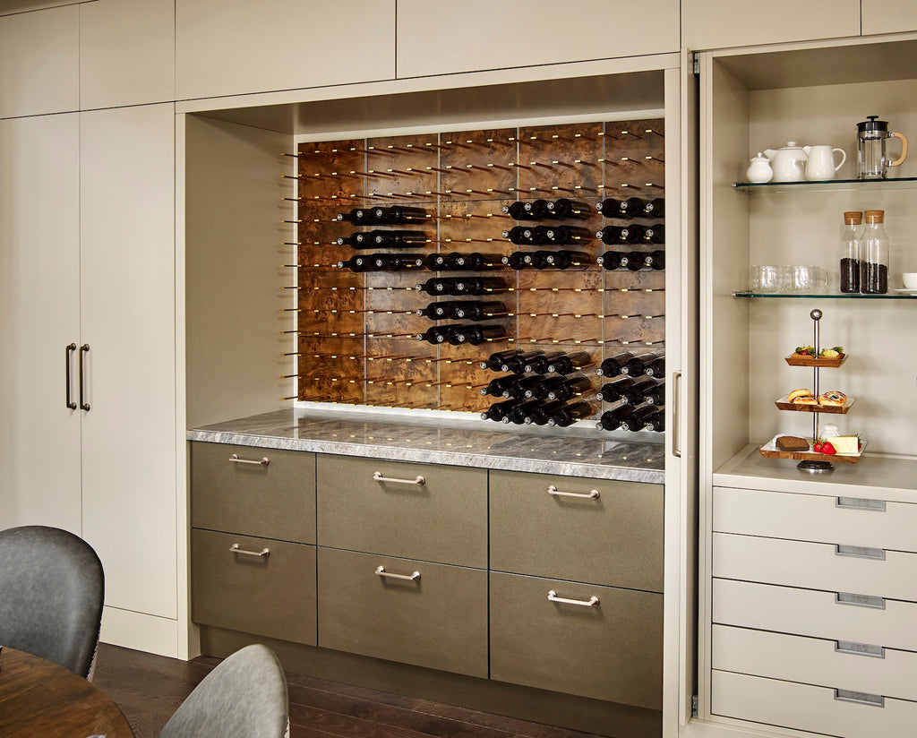 burled rosewood built-in wine nook