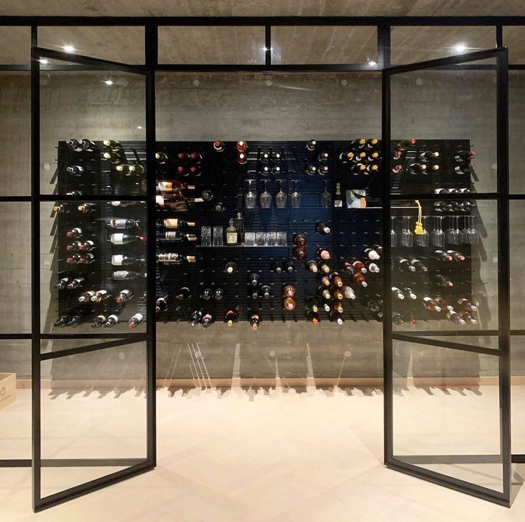 metal and glass wine room