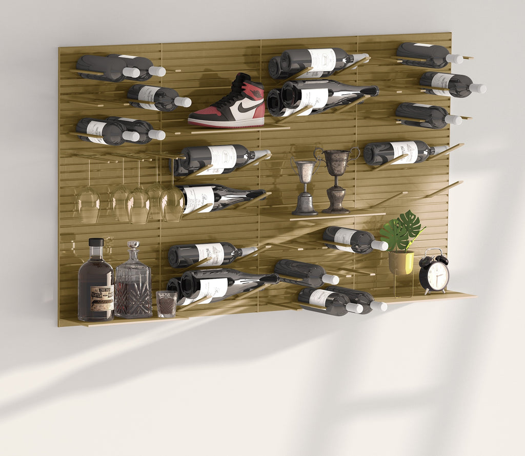 modern wall storage system - brass