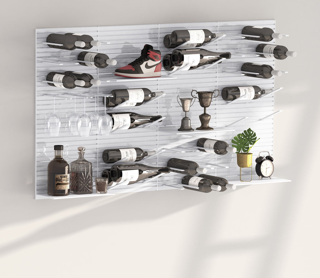 modern wine and storage wall display