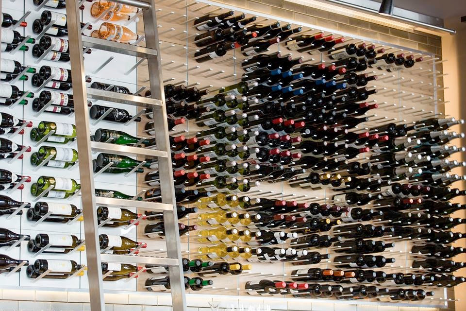 label wine display wall