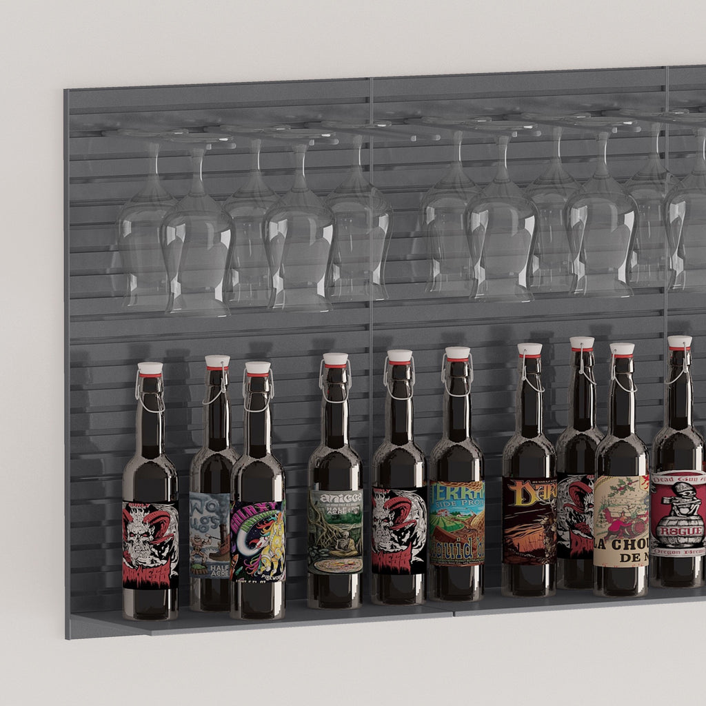 wall bottle storage shelf and stemware racking for bars