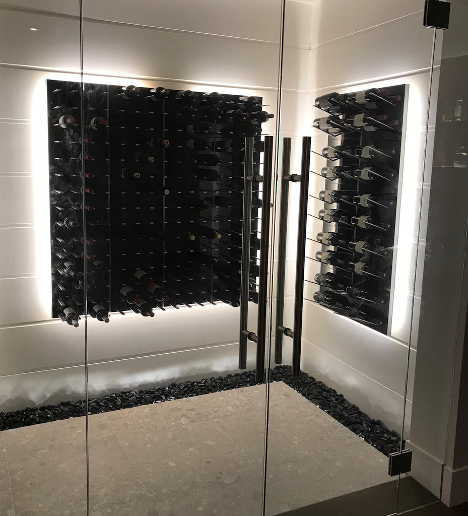 wine room with gloss black wine panels