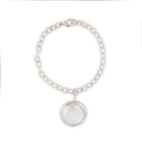 Champagne Cap Charm Bracelet in Silver by Laura Lobdell
