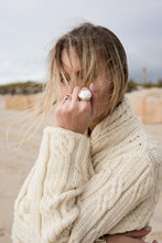 Champagne Cap Ring designed by Laura Lobdell on model at beach