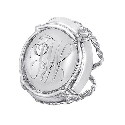 Champers Ring Prestige Sterling Silver - Personalized with Hand Engraved Initials