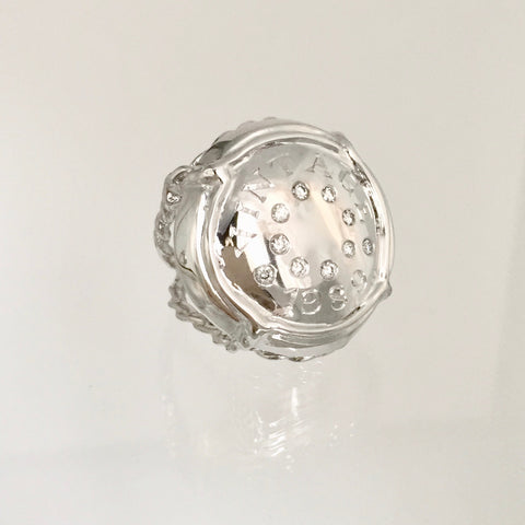 "Champers Ring set with diamonds and Your ""Vintage"" Hand Engraved"