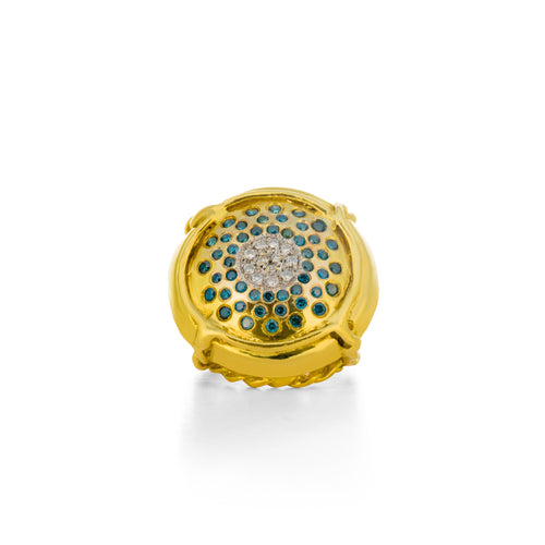 Champers ring in Green Gold with Blue Diamonds - Laura Lobdell