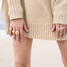 Baby, Ti and Champers Rings on model to show scale