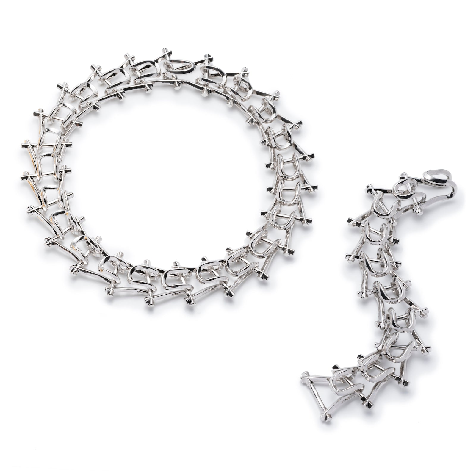 MARCY LINK NECKLACE & BRACELET - SILVER PLATED #POWEROFTHEPAIR SET