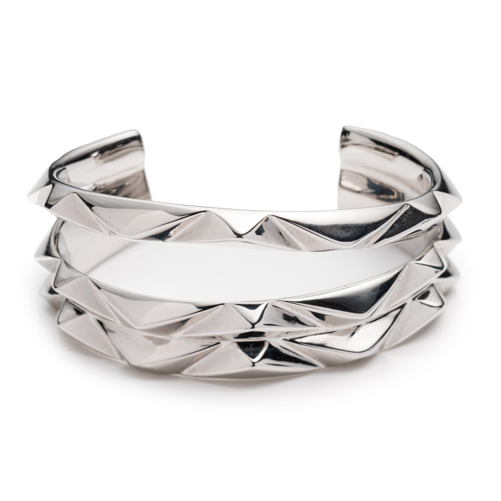 PRIZM THREE ROW CUFF - SILVER PLATED BRASS