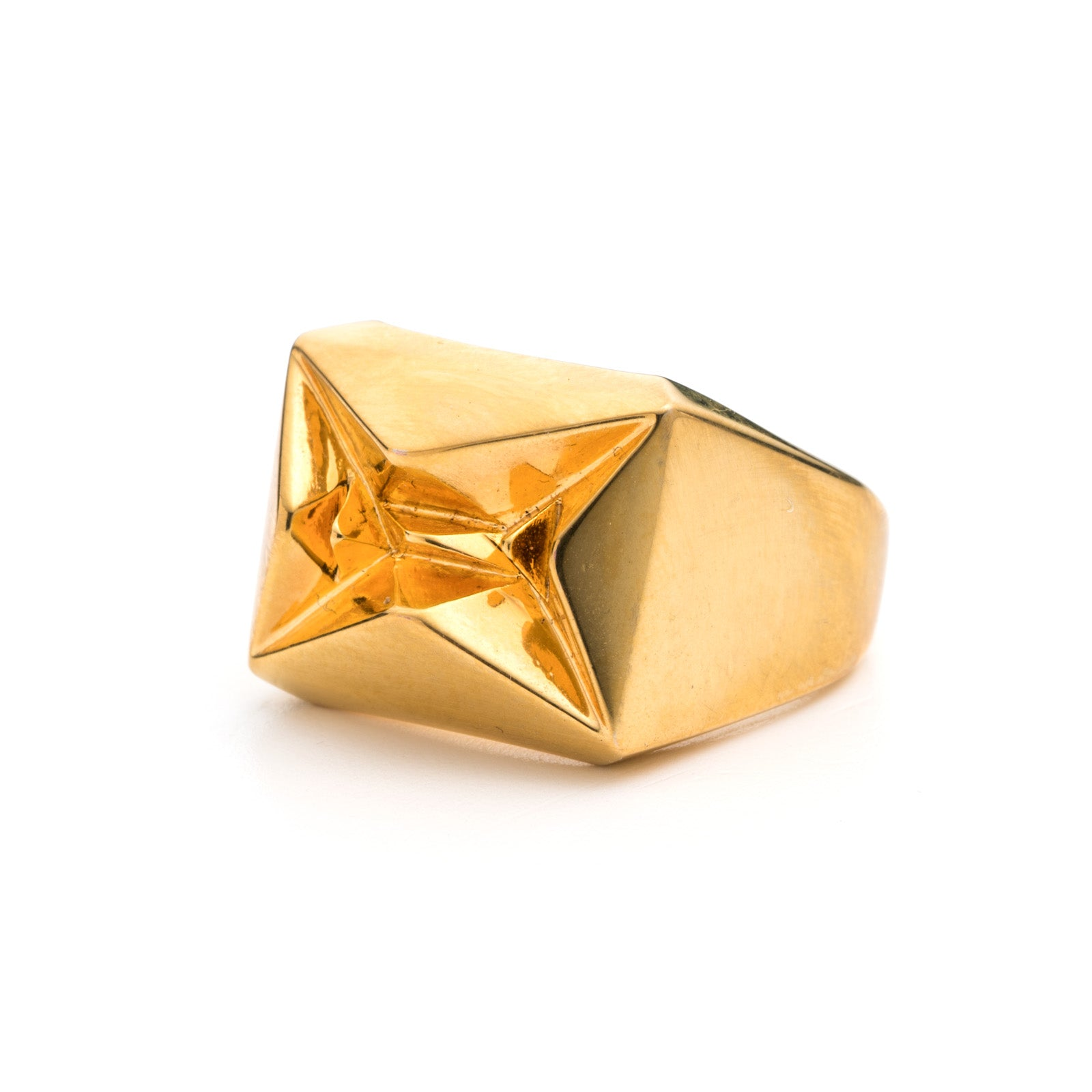 PRIZM SIGNET RING - 18K GOLD PLATED BRASS