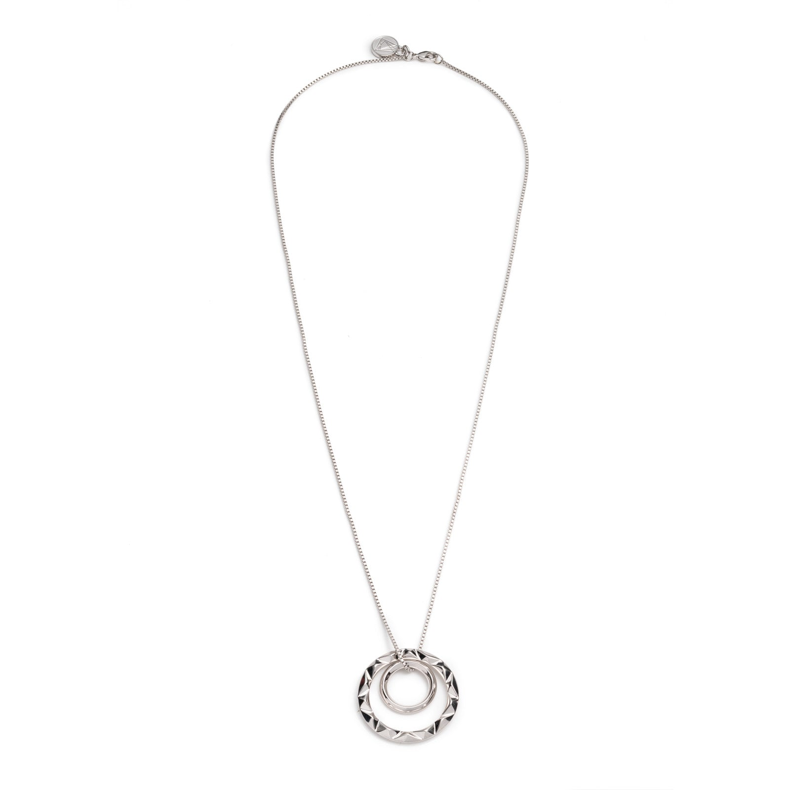 PRIZM DOUBLE PENDANT NECKLACE - Silver Plated Brass