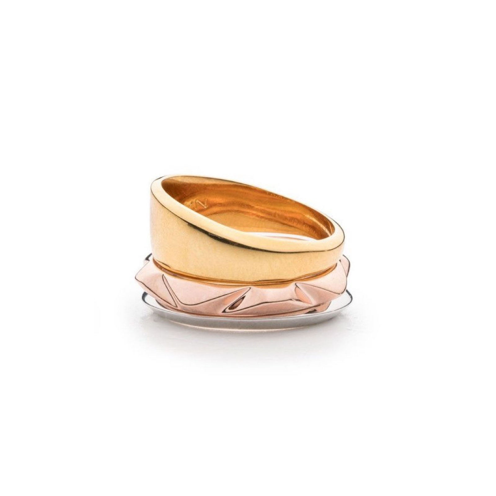 PRIZM RING SET - TRICOLOR PLATED BRASS