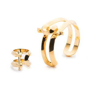 MARCY SMALL CUFF & RING - 18K GOLD PLATED #POWEROFTHEPAIR SET