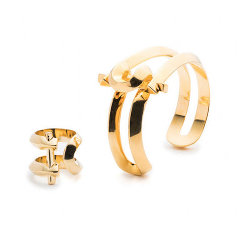 MARCY SMALL CUFF & RING - GOLD PLATED #POWEROFTHEPAIR SET