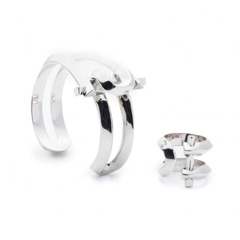 MARCY SMALL CUFF & RING - SILVER PLATED #POWEROFTHEPAIR SET