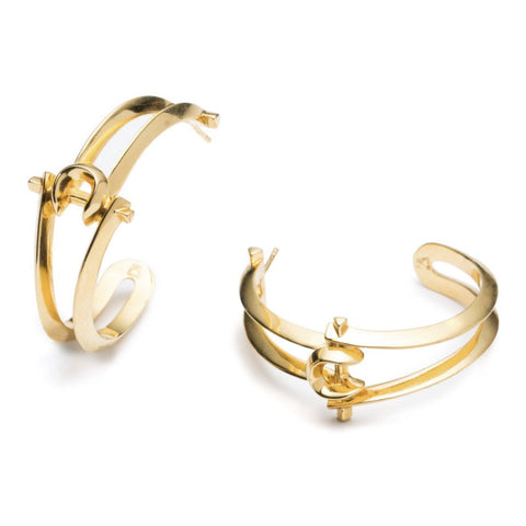 MARCY HOOP EARRINGS - 18K GOLD PLATED BRASS